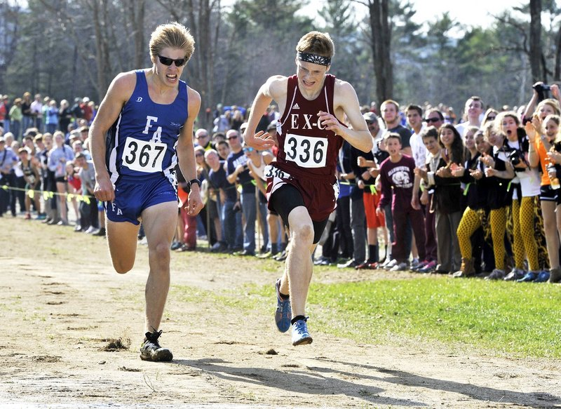Dan Curts, right, of Ellsworth, ended Silas Eastman's two-year reign as Class B cross country state champion, beating the Fryeburg Academy standout by four-hundredths of a second.