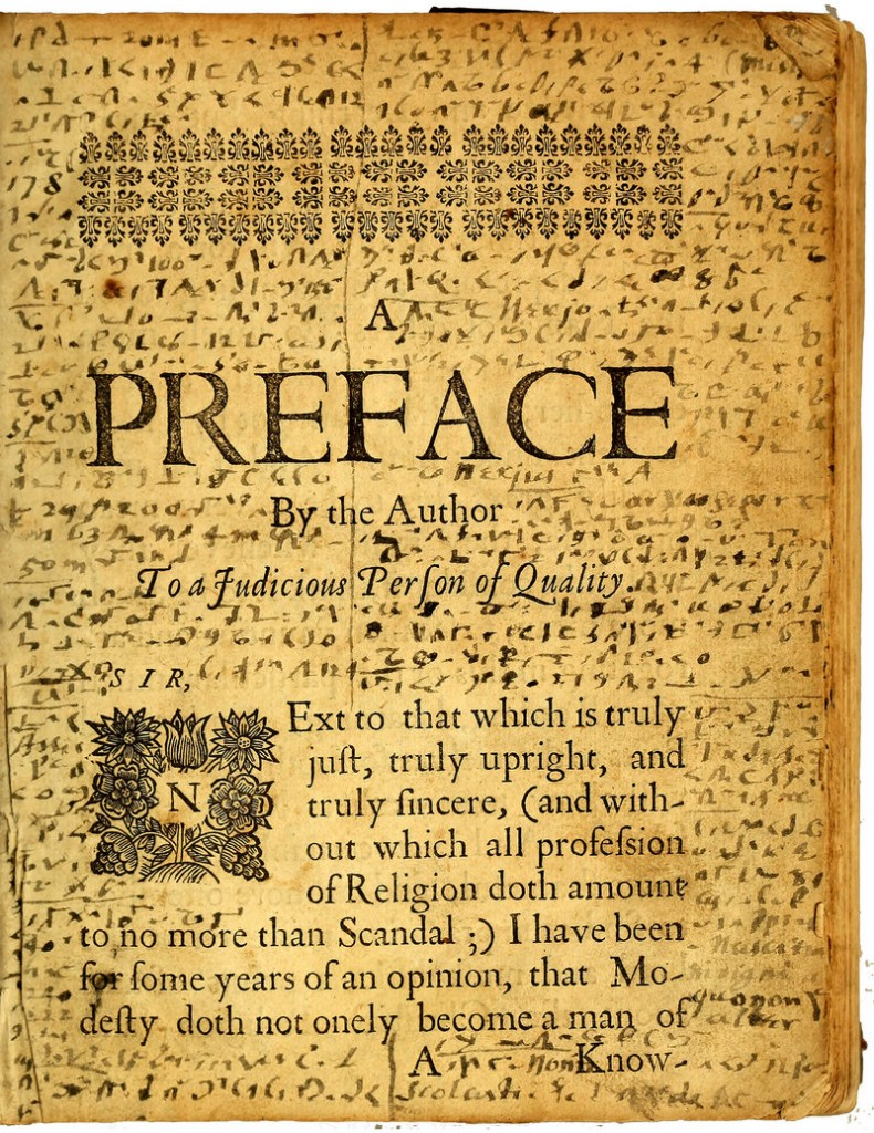 """The preface page of the """"Mystery Book"""" showing Williams' writings in code."""