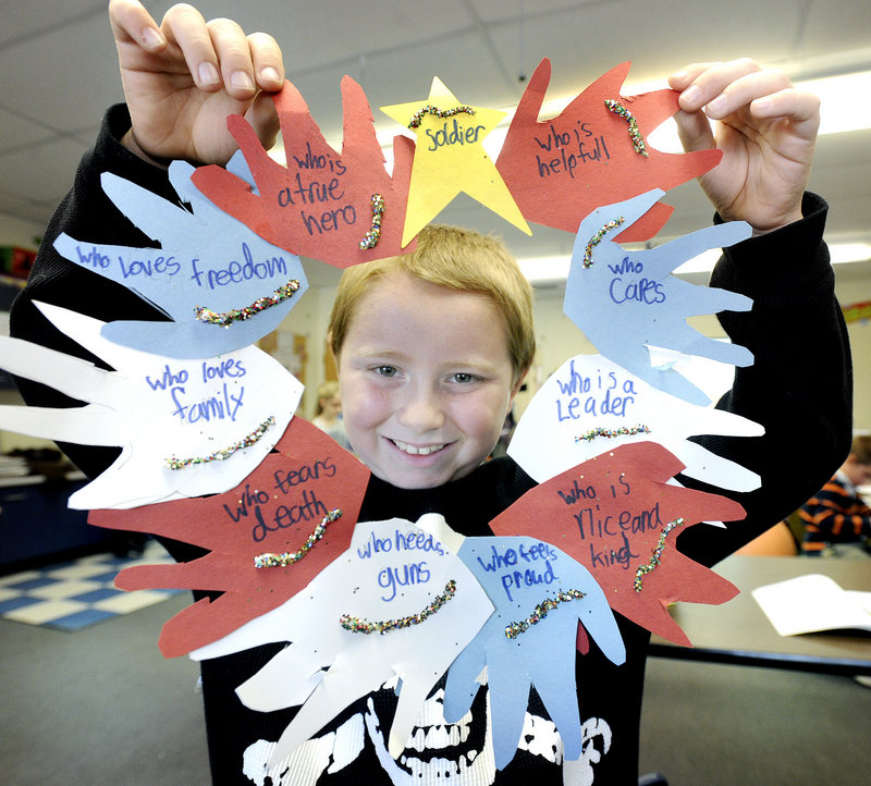 Eldon Beaudoin is among the third-graders at Jameson School in Old Orchard Beach who are making decorations and cards for veterans as part of Hugs of Love.