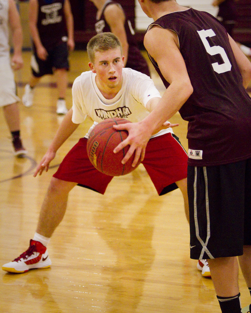 Even in practice Tom McGowan shows the kind of wide-eyed intensity that's made him a standout at Windham High despite limited opportunity to play organized basketball until a couple seasons ago.