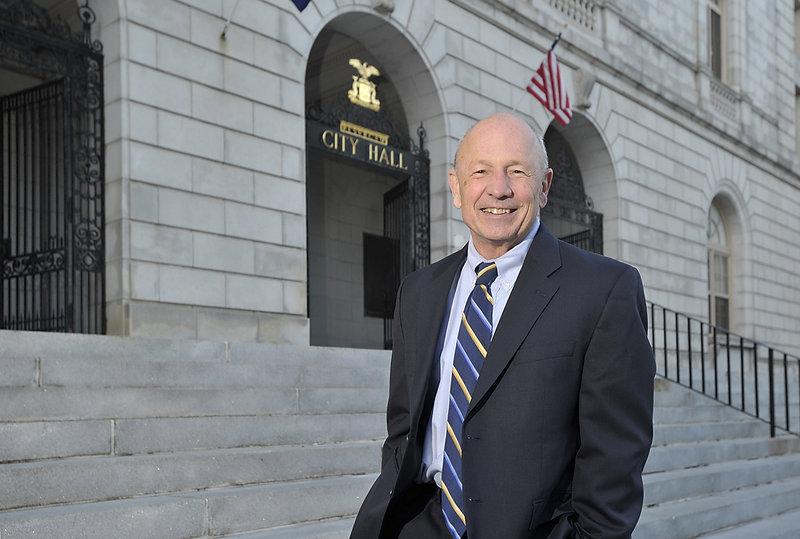 Mayor Michael Brennan on the steps of Portland City Hall.