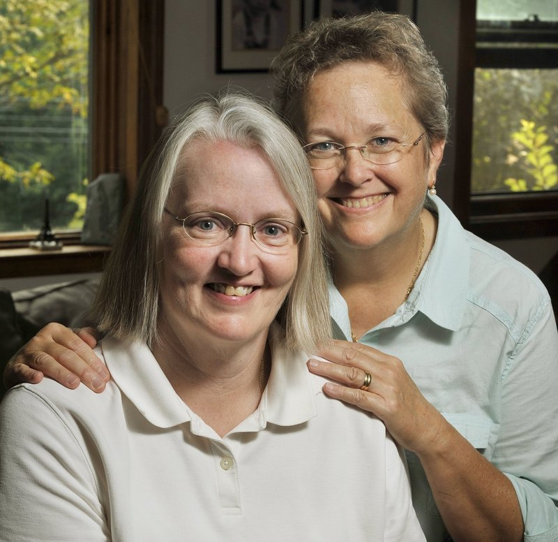 Sarah Dowling, left, and Linda Wolfe of Freeport would like to wed soon.