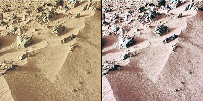 """Images from Curiosity show a deposit dubbed """"Rock Nest."""" At left is the scene as it would appear on Mars, which has a dusty red-colored atmosphere. Image at right shows what the scene would look like under the lighting conditions on Earth."""