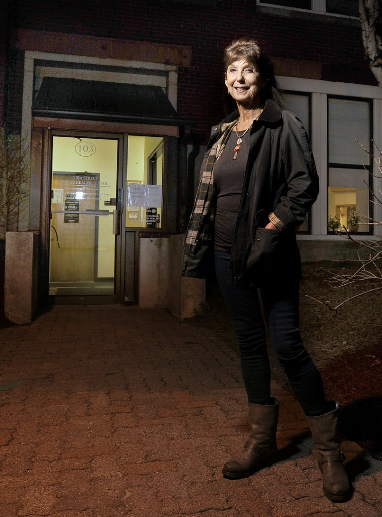 Caroline Teschke stands outside the India Street Public Health clinic Wednesday, Dec. 5, 2012. Teschke is the clinic's administrator.