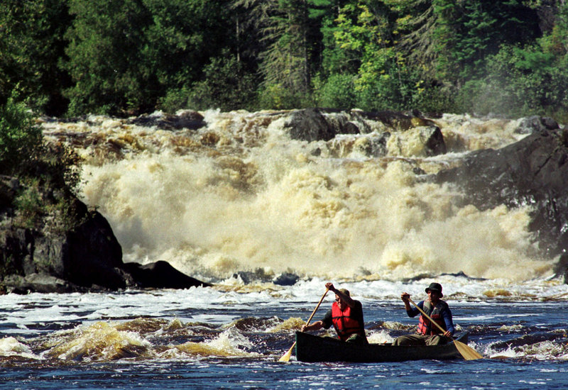 This 1999 file photo shows the Allagash Falls on the Allagash Wilderness Waterway. Registration for winter campground sites along the waterway opens Saturday morning on a first-come, first-served basis.