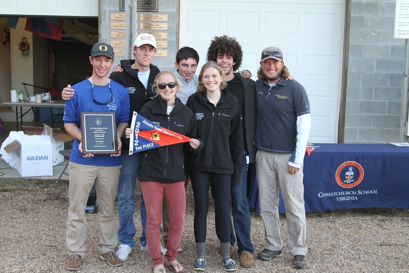Members of the Falmouth High sailing team show off their awards after placing second at the Atlantic Coast High School Fleet Racing Championship in Christchurch, Va. Pictured from left to right: Front row -- Haley McMahon and Kayla Adelman. Back row -- Riley Engelberger, Charlie Lalumiere, Reed McDermott, Myles Everett and Coach Charlie Fox.