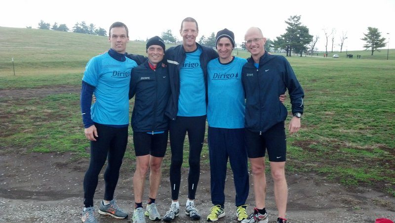 Dirigo Running Club's masters team finished seventh at the USA Track and Field national club cross country championships Saturday in Lexington, Ky. Team members, from left to right: Al Bugbee Jr., Scott Gorneau, Pete Bottomley, Andy Spaulding and Jorma Kurry.