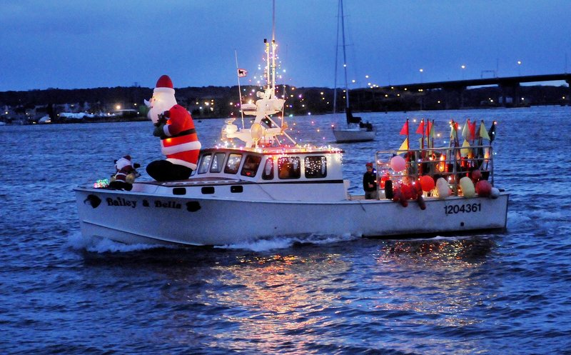 The annual Boat Parade of Lights, beginning at 4:30 p.m. Saturday in Portland Harbor, can be viewed from Bug Light Park, the Maine State Pier or the Eastern Prom walking path and the Portland waterfront. Santa sightings are likely.