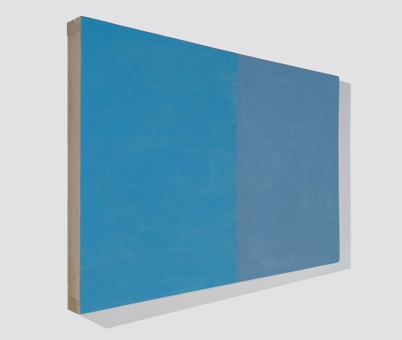 """""""Blue Trapezoid"""" by Bridget Spaeth from """"Expanding Fields"""" at Rose Contemporary."""