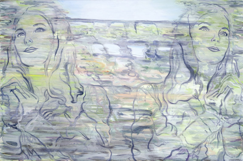 """""""Double Pilgrim,"""" by Veronica Cross, from """"Cast in Amber"""" at Elizabeth Moss Galleries."""