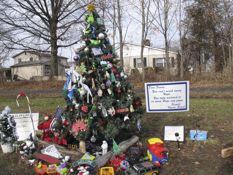 "What has come to be known as the ""Tree Of Hope"" in Union Beach, N.J., stands as a testament to townspeople's resolve to count their holiday blessings while still struggling with the many problems left behind by Superstorm Sandy."
