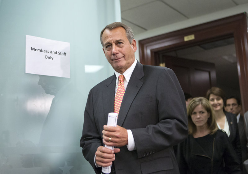 """House Speaker John Boehner, R-Ohio, would not give reporters any indication of any progress made after he met with President Obama for what aides called """"frank"""" talks."""