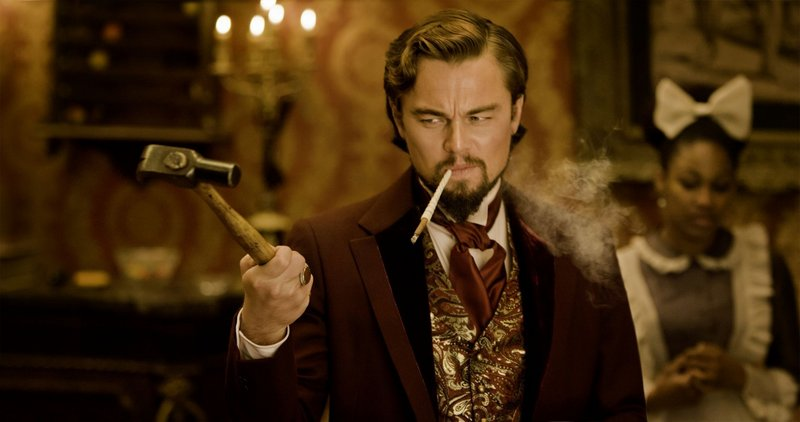 """Leonardo DiCaprio displays a gift for both comedy and villainy as the decadent dandy Calvin Candie in """"Django Unchained."""""""