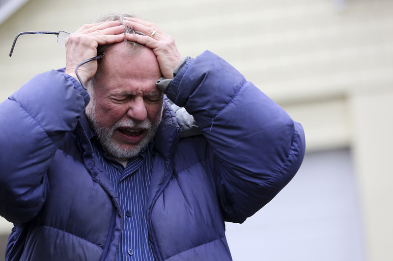 """Gene Rosen of Newtown, Conn., becomes emotional Monday as he talks about providing shelter to six of """"Mrs. Soto's"""" students after they had run away from the deadly massacre last Friday."""