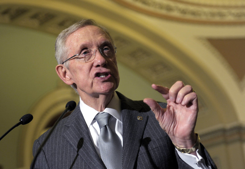 """Senate Majority Leader Harry Reid of Nevada, who spoke following a Democratic policy luncheon Tuesday, says a """"Plan B"""" tax proposal from Republicans """"will not pass the Senate."""""""