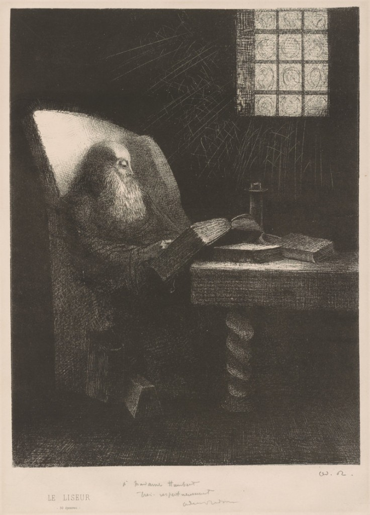 """""""The Reader,"""" 1892 lithograph by French artist Odilon Redon."""
