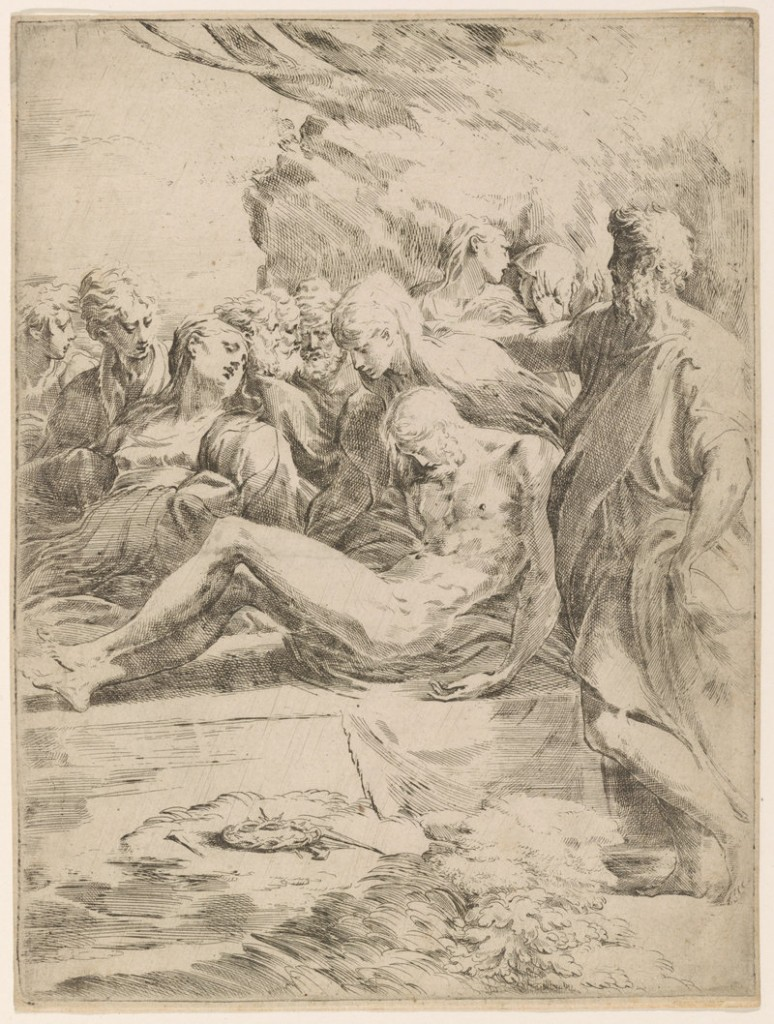 """""""The Entombment,"""" 16th-century etching by Italian artist Parmigiano."""
