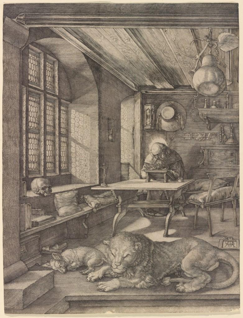 """St. Jerome in His Study,"" 1514 engraving by German artist Albrecht Durer."