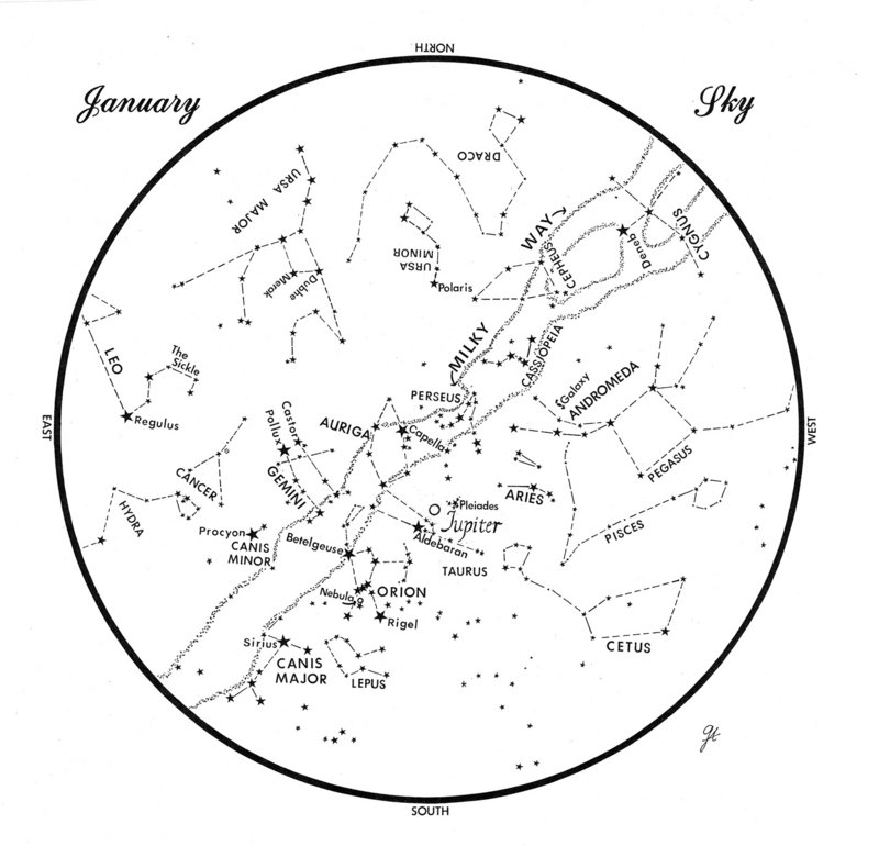 This chart represents the sky as it appears over Maine during January. The stars are shown as they appear at 9:30 p.m. early in the month, at 8:30 p.m. at mid-month and at 7:30 p.m. at month's end.Jupiter is shown in its mid-month position.To use the map, hold it vertically and turn it so that the direction you are facing is at the bottom.