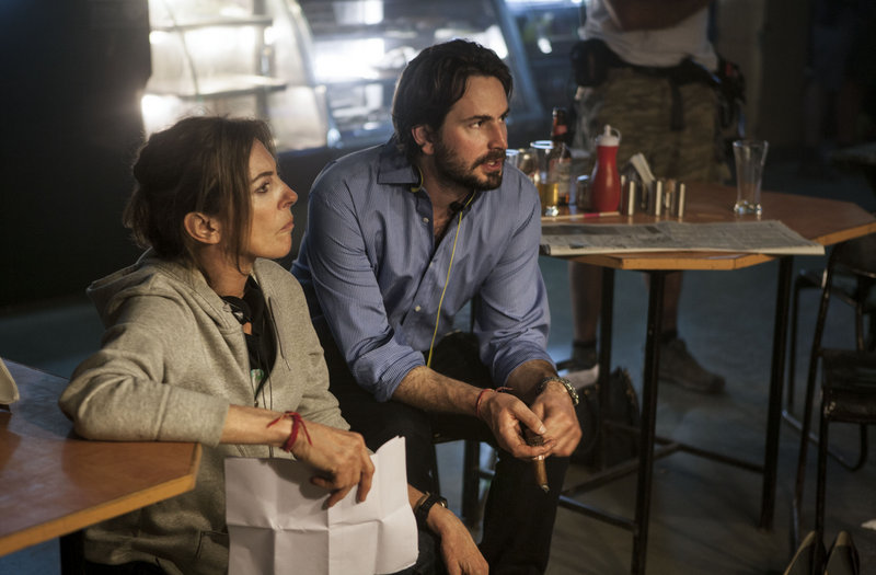 "Director Kathryn Bigelow and screenwriter Mark Boal on the set of ""Zero Dark Thirty."""