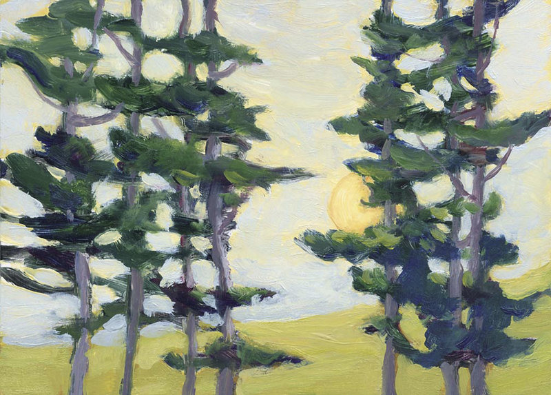"""""""Beyond the Woods,"""" a painting by Sally Loughridge of South Bristol, who turned a series of small oil paintings into a book, """"Rad Art: A Journey Through Radiation Treatment."""""""