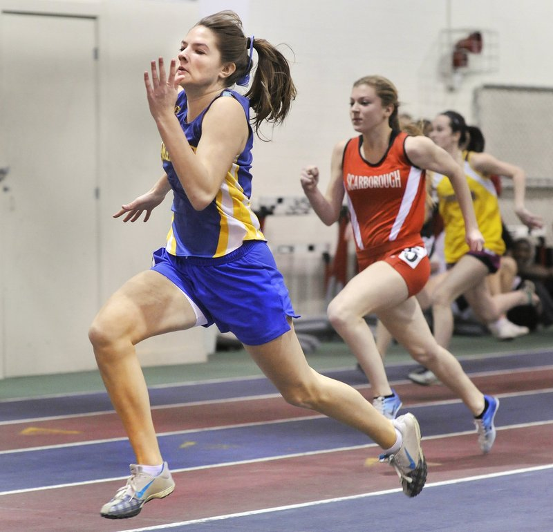 Kate Hall of Lake Region captured three events at the Class B championship meet last season – the 55 meters, 200 meters and long jump. And guess what? She did it all as a freshman.
