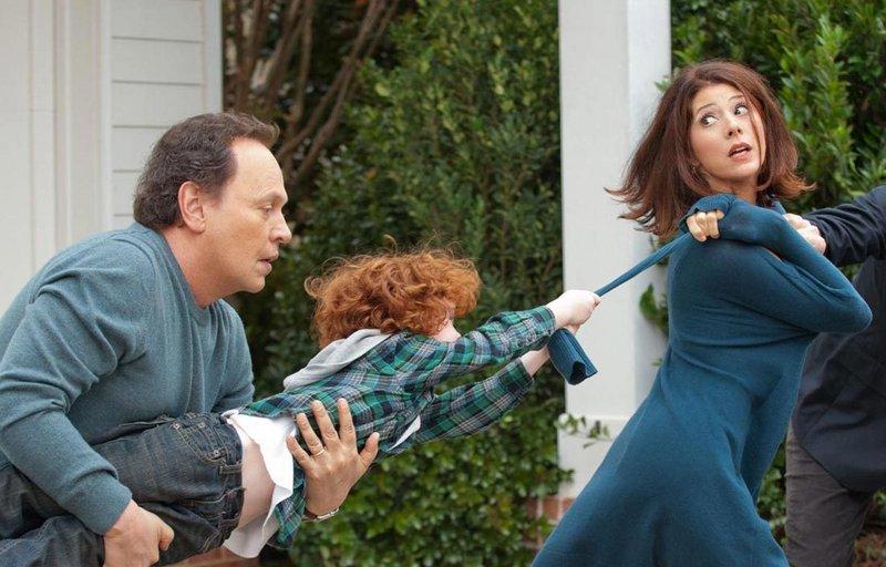 "Billy Crystal, Kyle Harrison Breitkopf and Marisa Tomei in ""Parental Guidance."""