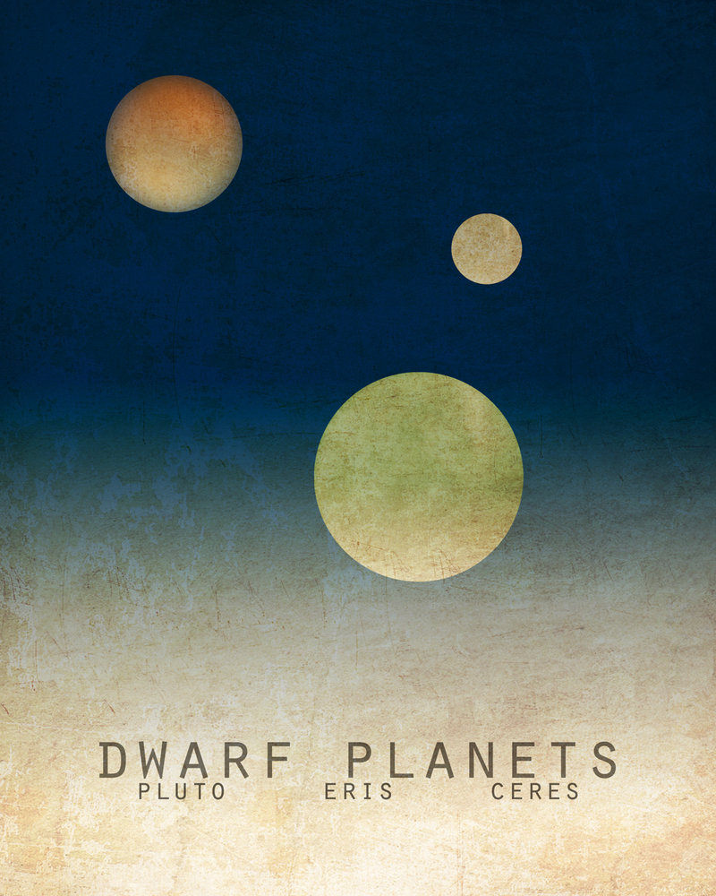 Print of the dwarf planets, Pluto, Eris and Ceres, above, and print of Saturn, below, by artist Megan Lee, are available at www.etsy.com/shop/meganlee.