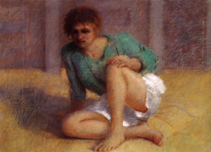 """Thomas Cornell's """"Girl with a Green Shirt,"""" pastel, 1992."""