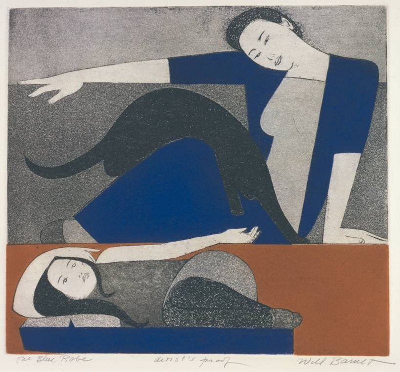 """Wil Barnet's """"The Blue Robe,"""" 1971, etching and aquatint on Arches cover paper."""