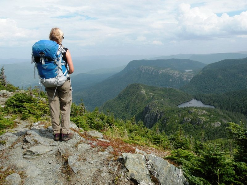 A vast expanse of high summits, alpine tundra, dramatic escarpments, deep valleys, old growth forests and pristine waters can be seen from Pic du l'Aube on the IAT Gaspe.