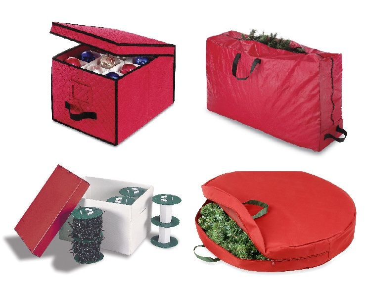 Storage containers for, clockwise from upper left, ornaments, artificial trees, wreaths and lights are available at retailers including Kohl's. The items above range in price from $29.99 to $34.99.
