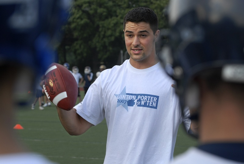 In this July 5, 2007 file photo, Quinton Porter, former Portland High QB standout and NFL backup, works with a summer football camp at Fitzpatrick Stadium in Portland. Porter signed signed a three-year contract with the Montreal Alouettes of the Canadian Football League on Monday, Jan. 22, 2012. Football