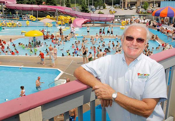 Gregory Rec/Staff Photographer Ken Cormier opened Funtown in 1967 and slowly expanded the park with new rides and a water park through the decades. Here, Cormier is photographed in Splashtown, the park's water-themed attraction, on Wednesday, July 2, 2008.