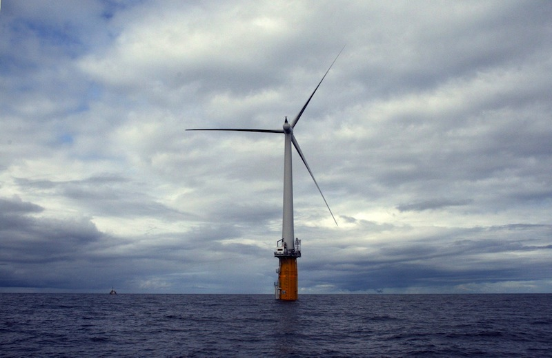 The four floating wind turbines Norwegian energy company Statoil wants to site 12 miles off Boothbay Harbor would look similar to the Hywind test turbine, now producing power off the coast of Norway.