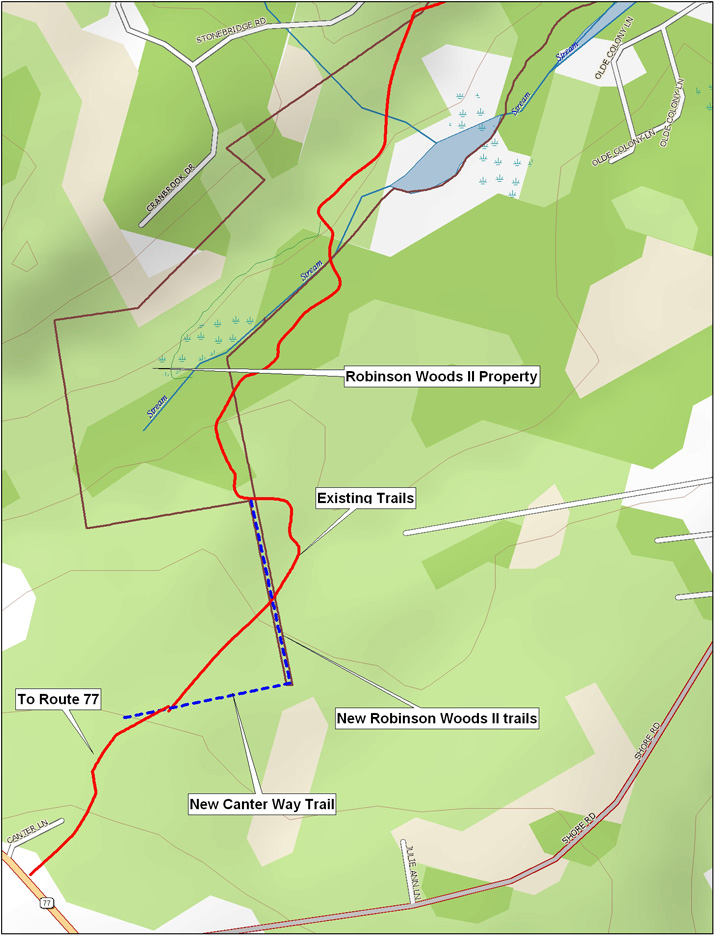 A detailed map showing the new trail corridor in Cape Elizabeth, with existing trails and conservation lands.