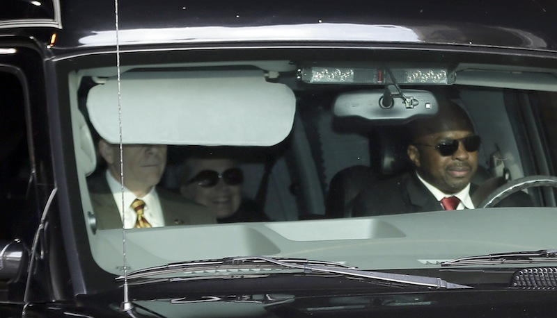 Secretary of State Hillary Clinton, center, is transported on the New York Presbyterian Hospital complex Wednesday, Jan. 2, 2013, in New York. Officials say Clinton who was admitted to the New York hospital Sunday continues to be treated with blood thinners to dissolve a clot in the vein behind the right ear. She was released from the hospital Wednesday. (AP Photo/Frank Franklin II)