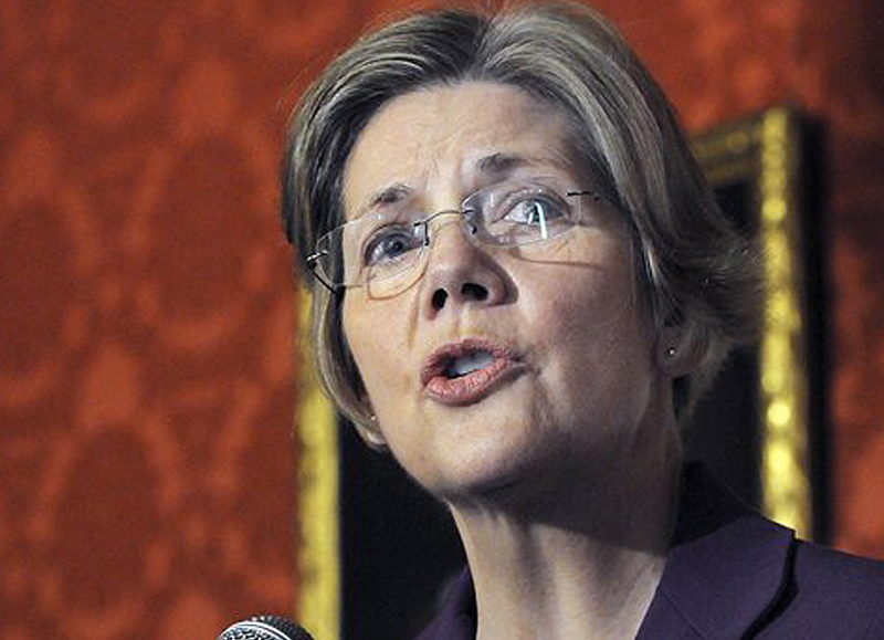 Massachusetts Sen. Elizabeth Warren speaks in Boston Friday in support of a bill filed in the state Legislature that would require gun owners to purchase liability insurance.