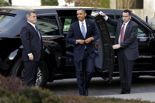 President Barack Obama arrives at St. John's Church in Washington on Monday.