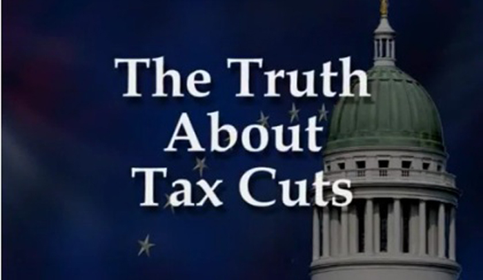 A screen grab from Gov. Paul LePage's video about tax cuts.