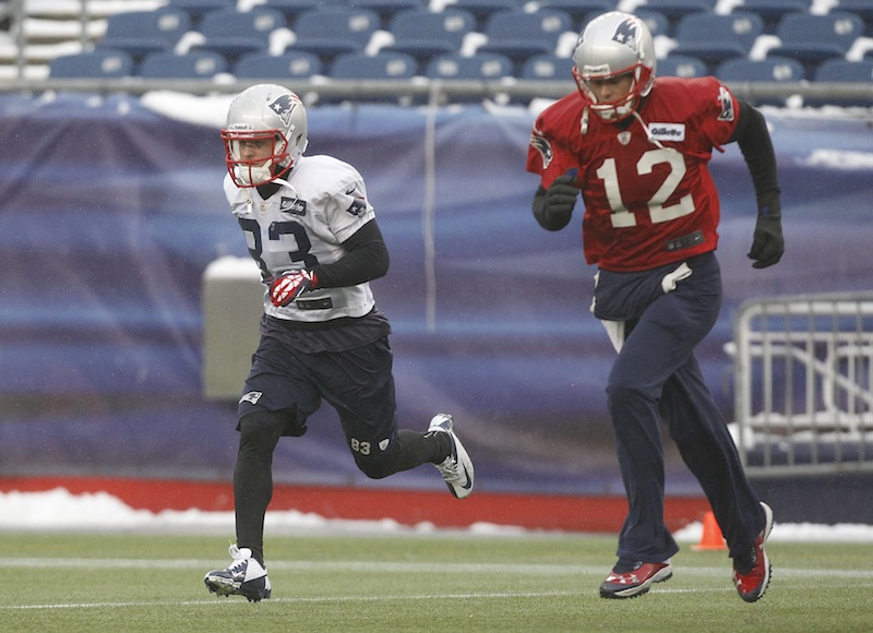 New England Patriots wide receiver Wes Welker (83) and quarterback Tom Brady run during practice at the NFL football team's facility in Foxborough, Mass., Wednesday, Jan. 16, 2013. The Patriots will play the Baltimore Ravens in the AFC Championship game for the second year in a row at Foxborough this Sunday. (AP Photo/Stephan Savoia) Gillette Stadium