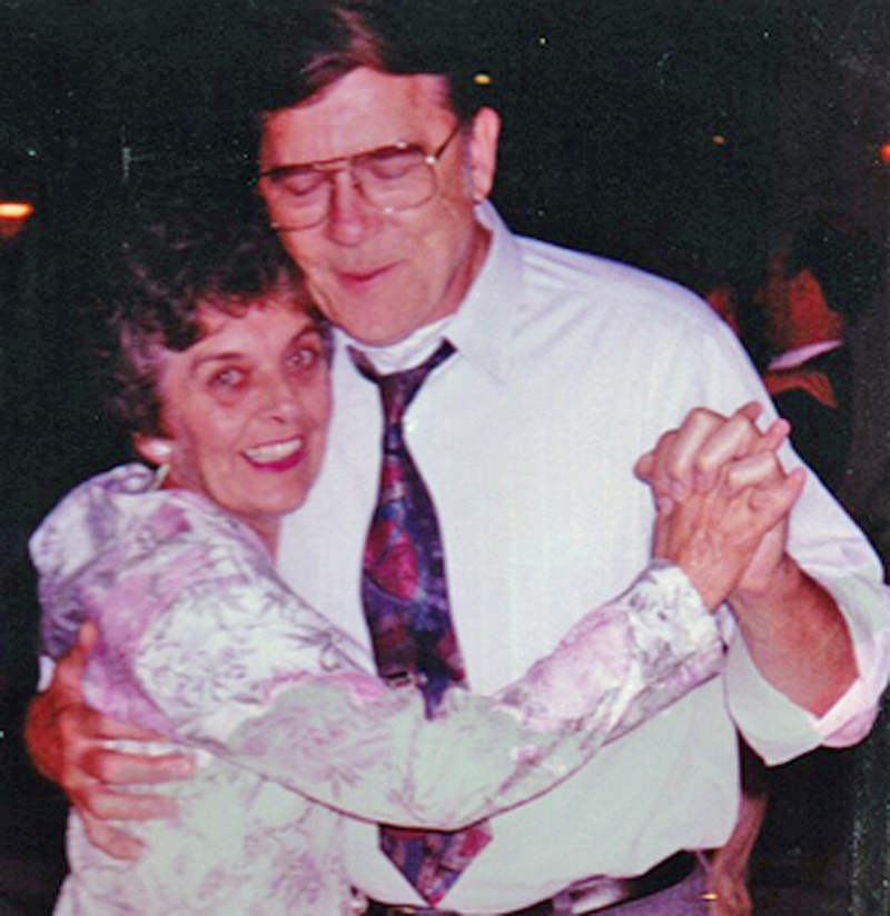 Elaine Richards dances with her husband, Lou Richards, at a wedding reception about 20 years ago. They were married more than 59 years.