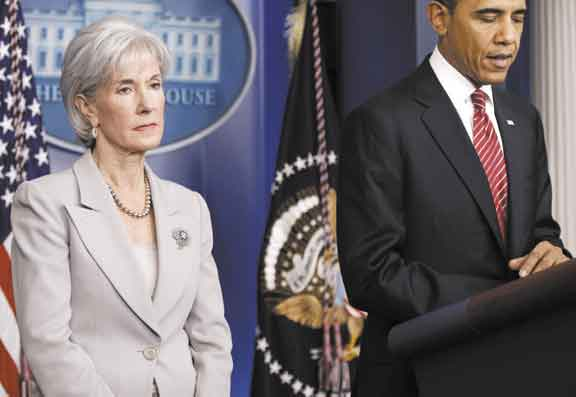 Health and Human Services Secretary Kathleen Sebelius, with President Barack Obama, during a February news conference in Washington.