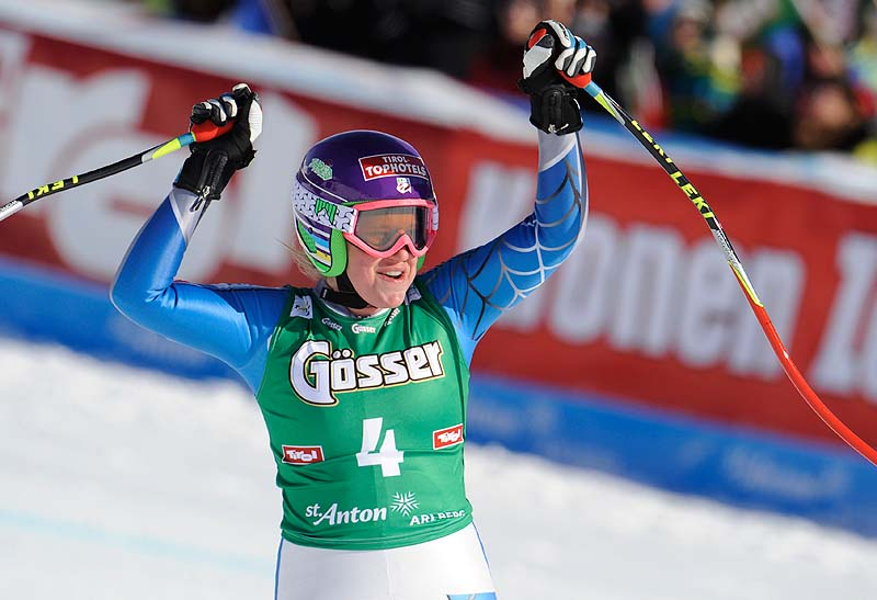 Alice McKennis, from the United States, celebrates as she crosses the finish line to win an Alpine ski, women's World Cup downhill in St. Anton, Austria on Saturday.