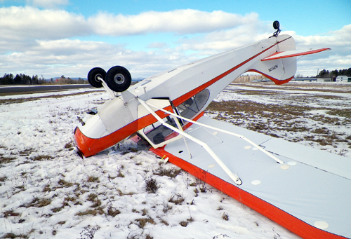 Robert Lewandowski, 44, of Winthrop was uninjured Tuesday when the 1946 Aeronca Champion 7AC airplane he was flying flipped over during landing practice at a Norridgewock airport.
