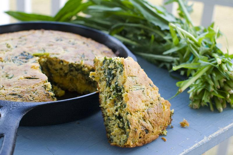 Cumin-dandelion green cornbread.