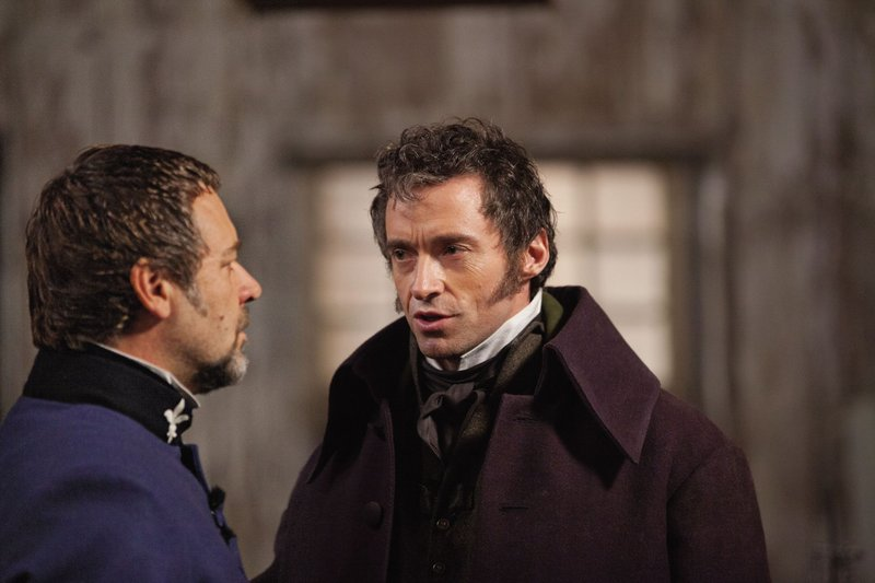 "Russell Crowe and Hugh Jackman in ""Les Miserables."""