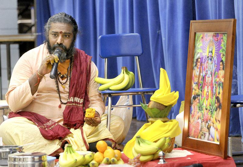 Sivacharia Bhairav Sundaram Battar leads a service called a