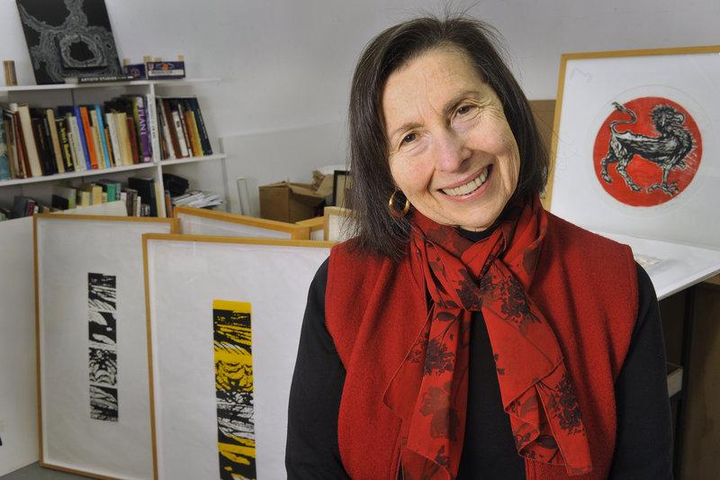 Dorothy Schwartz in her studio in Portland.
