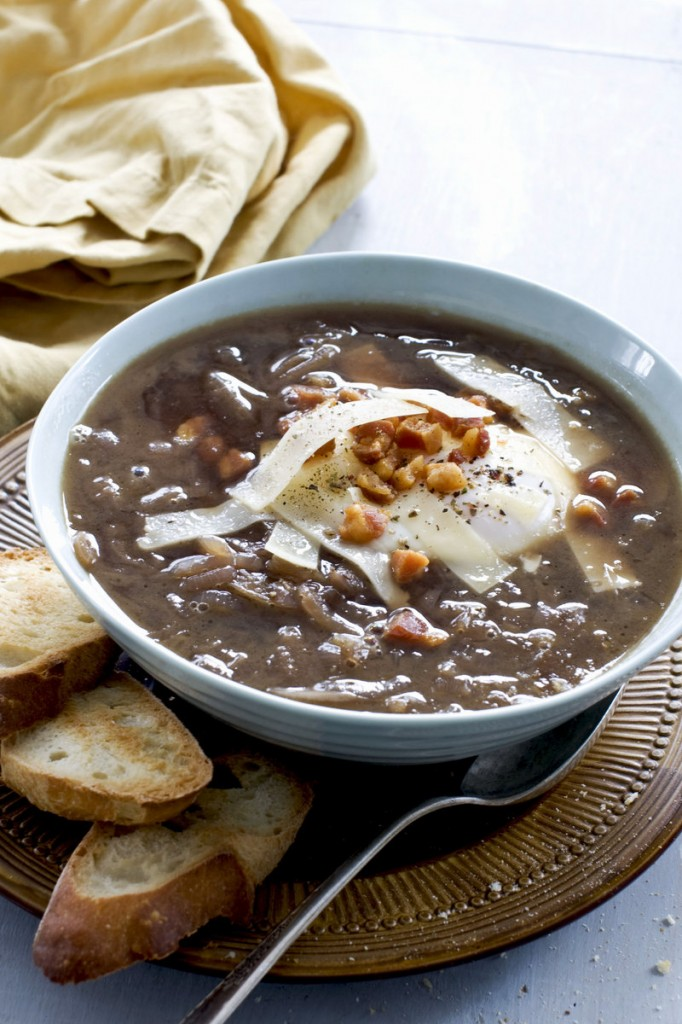 This Italian-style onion soup is a full meal in a bowl – and kinder to your arteries.